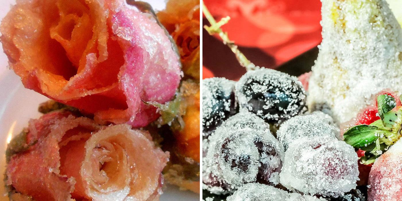 Fiori cristallizzati e frutta brinata