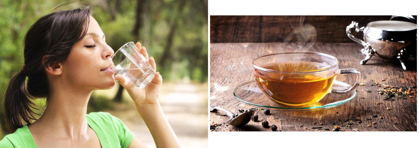Acqua e tè verde