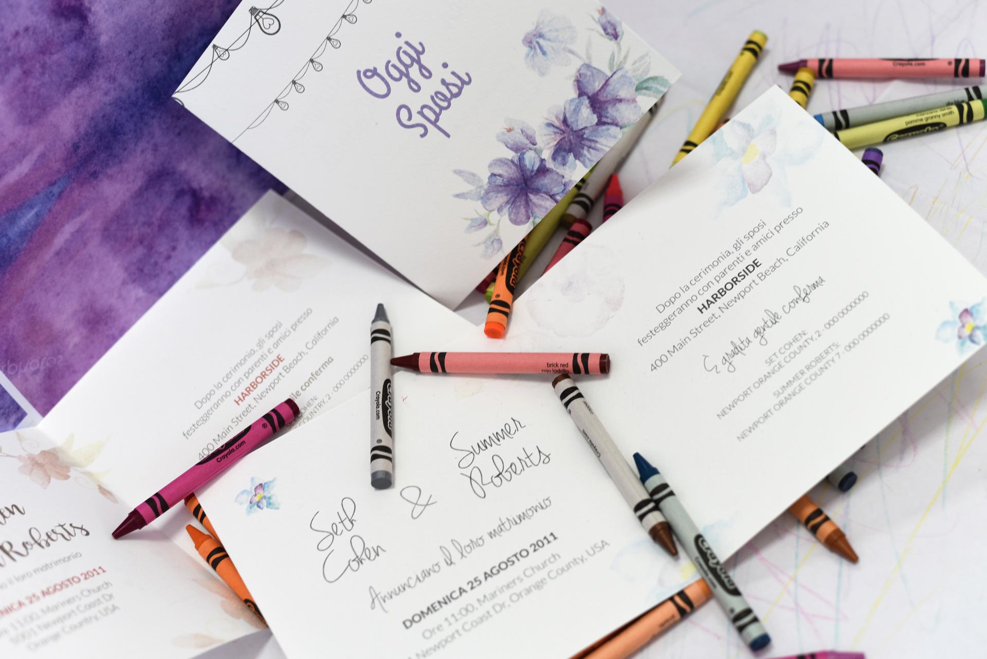 Partecipazioni colorate, dettaglio interni, Nozze à la Carte