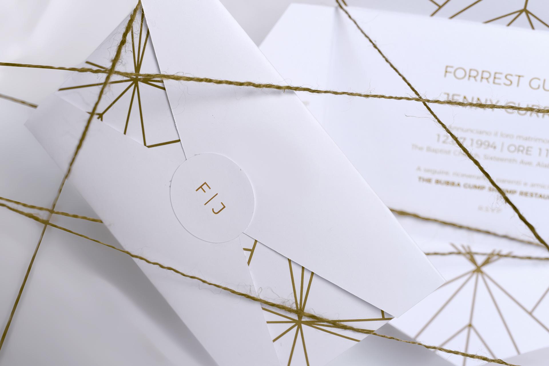 Partecipazione in stile geometrico, Nozze à la Carte