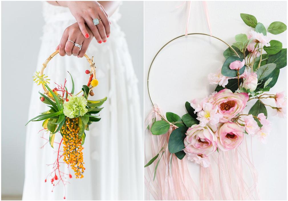 Hoop bouquet con bacche o nastri colorati